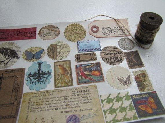 Vintage Style Stickers, Envelope Seals, Scrapbooking Embellishment, Tag, Labels-set of 22