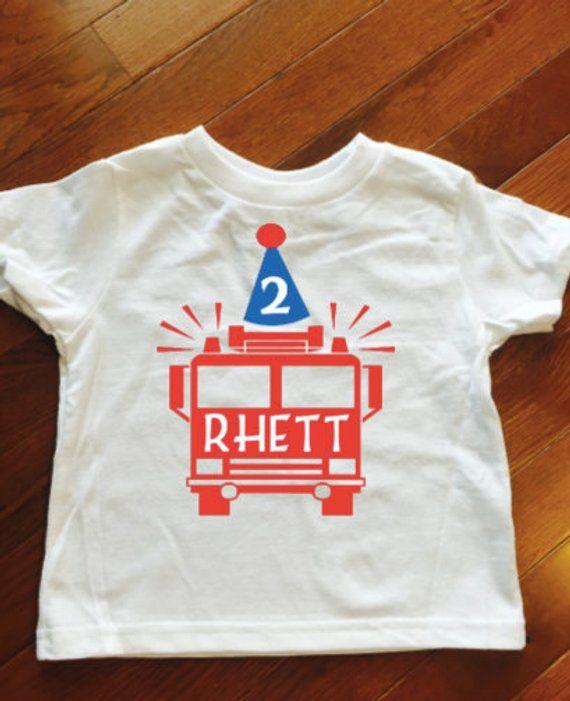 Toddler Boy Birthday Shirt Fire Truck 3rd 2nd B