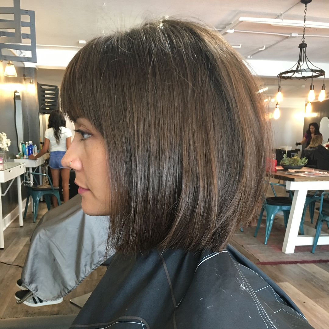 Blunt Bob W Bangs Wavy Straight Bobbed Hairstyles With