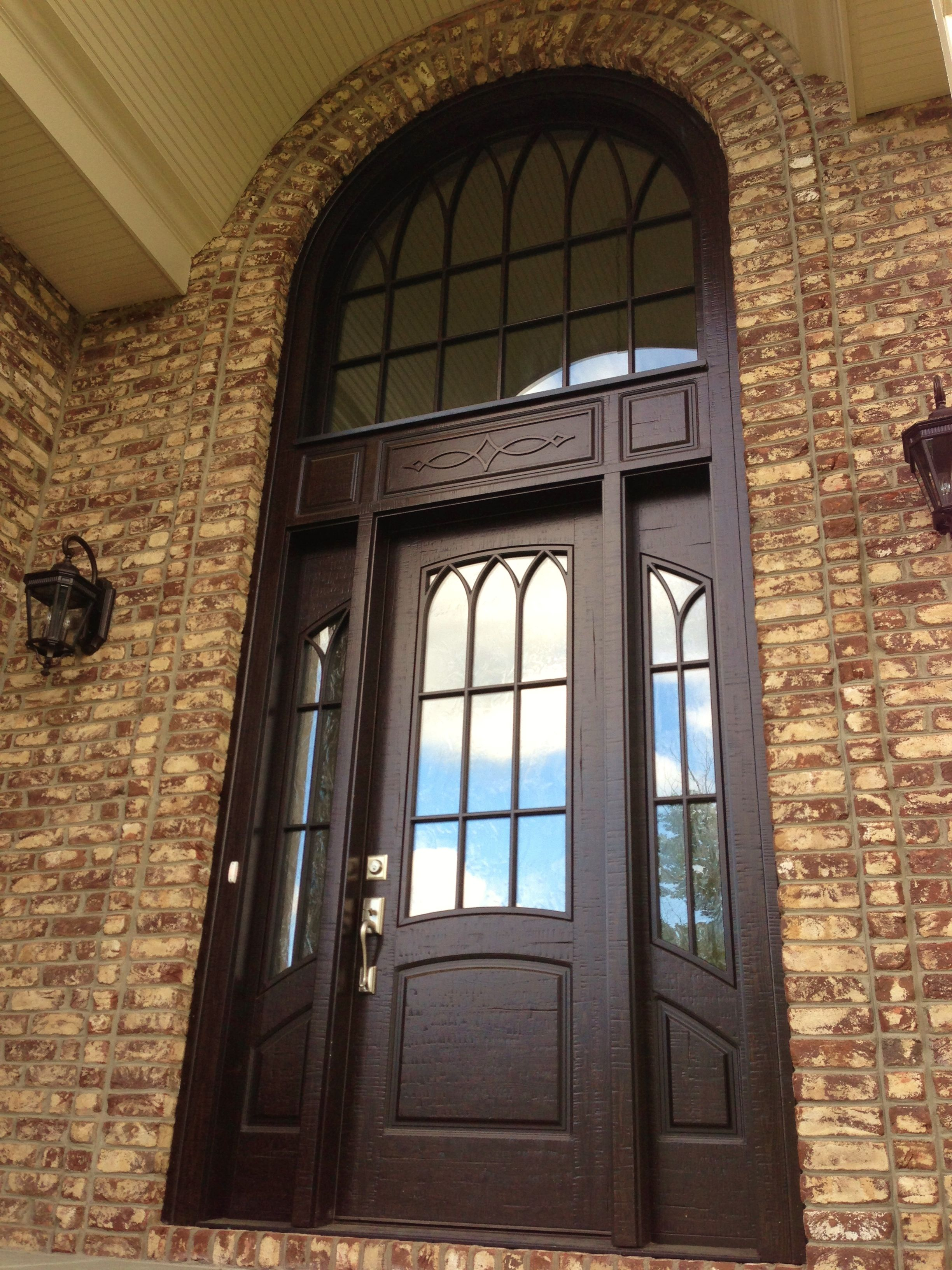 Masterpiece doors shutters single entry door with sidelights and matching transom finished for Exterior door with one sidelight