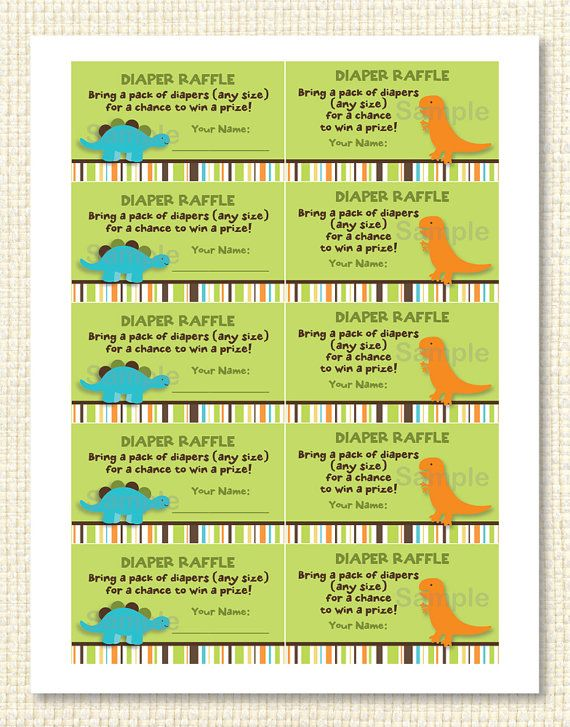 Dinosaur Diaper Raffle Tickets INSTANT DOWNLOAD Baby boy shower - free raffle templates