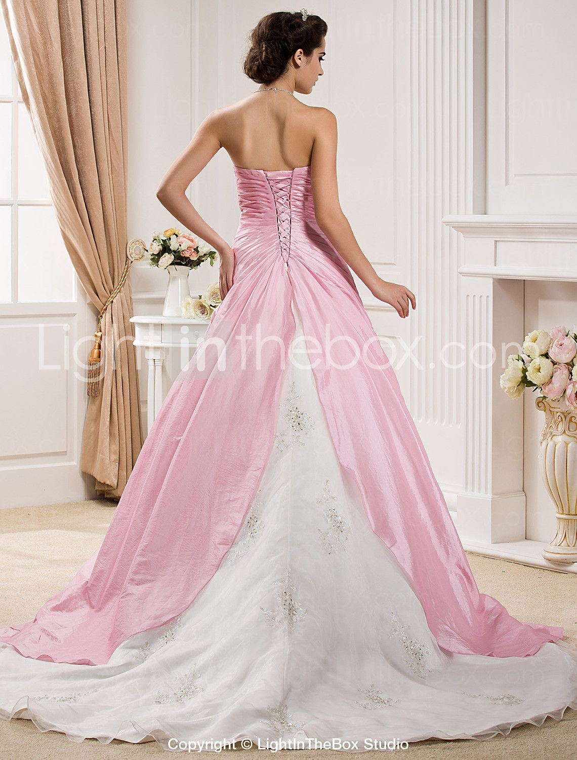Ball Gown Strapless Chapel Train Organza / Taffeta Made-To-Measure ...