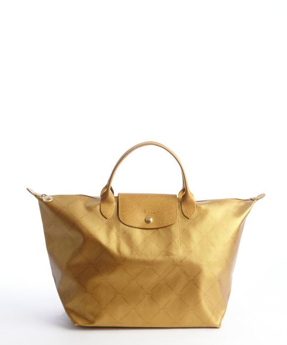 LONGCHAMP  Le Pliage  large printed gold tote  f79f4860d7345