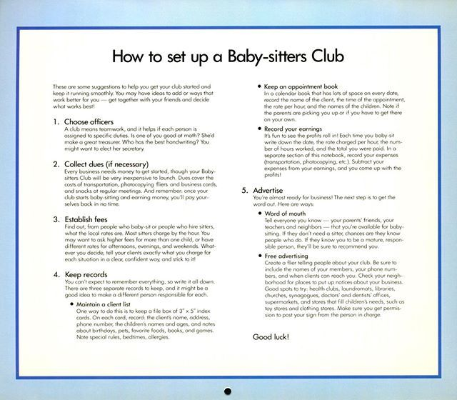 1990 Calendar.Instructions On How To Start Your Own Baby Sitters Club From The