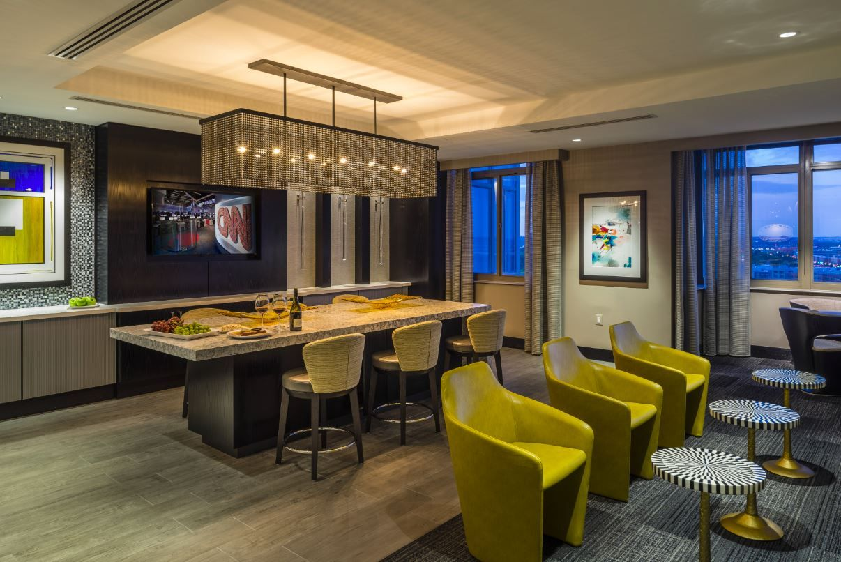 Business And Leisure Expertly Combine In The Interiordesign Of This Clubroom As Residents Are Welcomed To Remodeling Renovation Renovations Interior Design