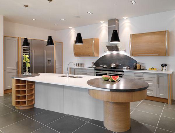 ilot cuisine design en contreplaqu avec un coin cuisine et des rangements pour bouteilles. Black Bedroom Furniture Sets. Home Design Ideas