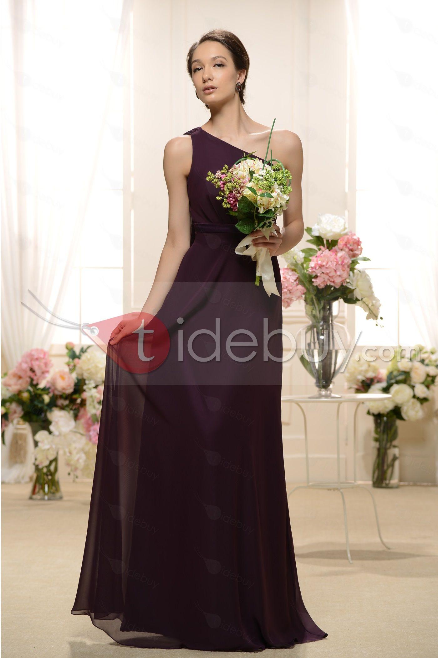 US$124.99 Attractive Sheath One-Shoulder Floor-length Bridesmaid Dress. #Bridesmaid #Floor-length #One-Shoulder #Attractive