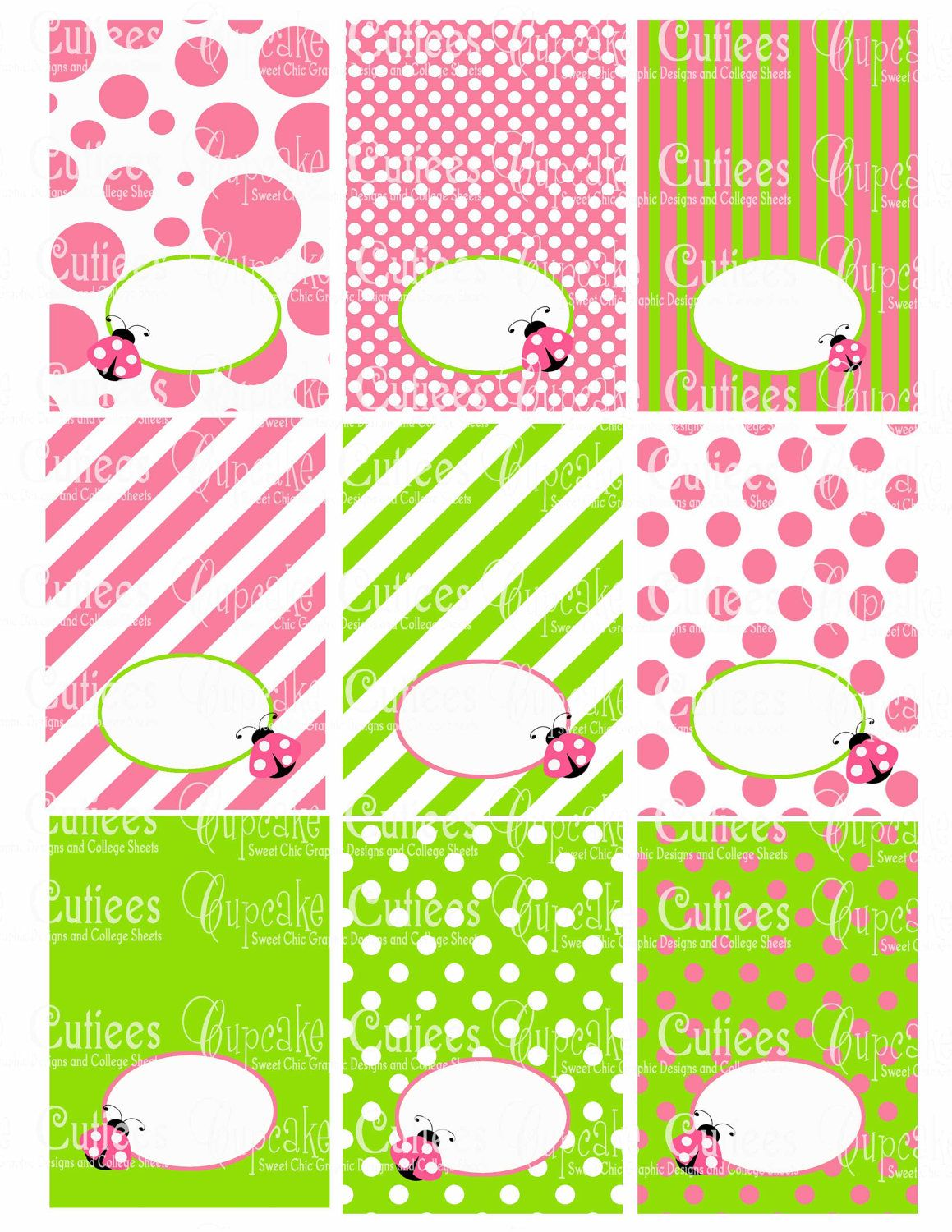Green and pink lady bug foldover digital collage table tents n food