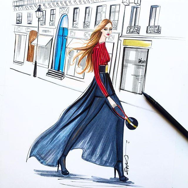 Paris fashion illustration inspired by Paris fashion week done by Houston fashion illustrator Rongrong DeVoe. more fashion illustrations at www.rongrongillustration.etsy.com