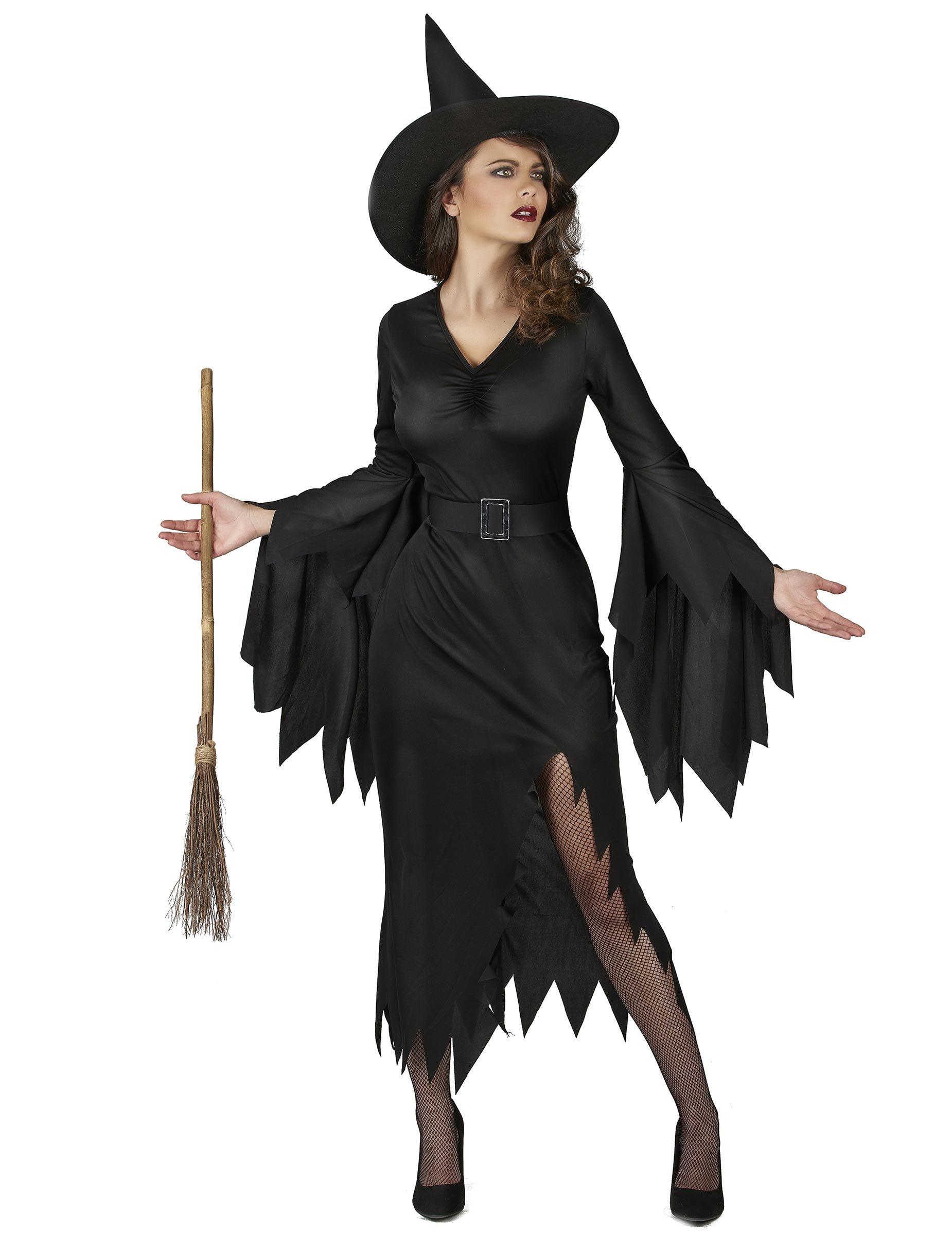 Cappello. Costume da strega nero sexy donna  Questo travestimento da strega  per adulto consiste in un 09d266defca8