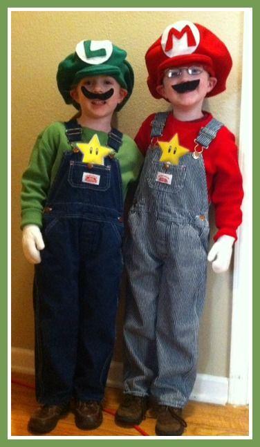 Diy Luigi And Mario Costumes Diy Halloween Costumes For Kids