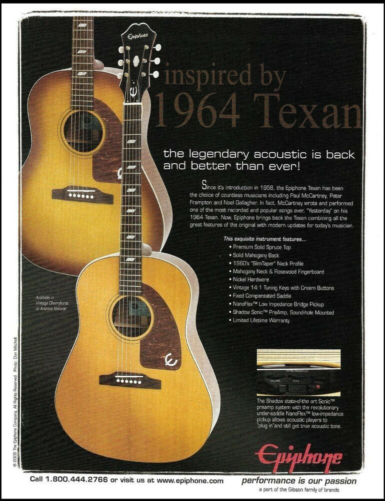 Epiphone Reissued 1964 Texan Acoustic Guitar 2009 Advertisement 8 X 11 Ad Print Epiphone Epiphone Acoustic Guitar Acoustic Guitar Strings