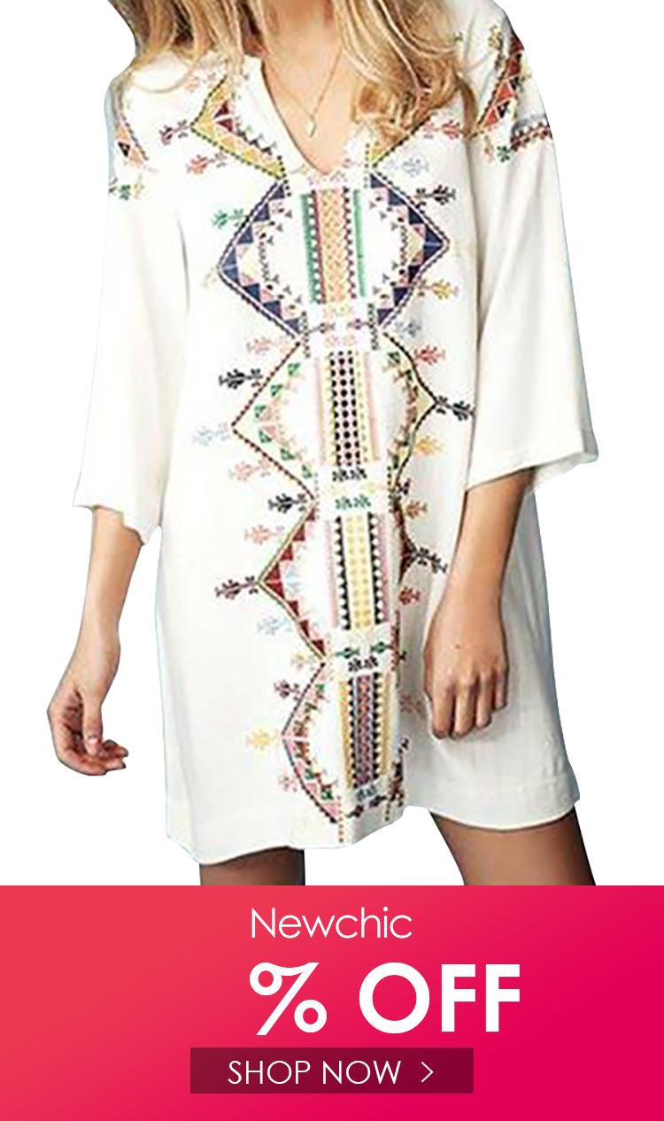 Women Geometric Print 3 4 Sleeve Casual Dress Casual Dress Dresses Cheap Summer Dresses [ 1266 x 750 Pixel ]