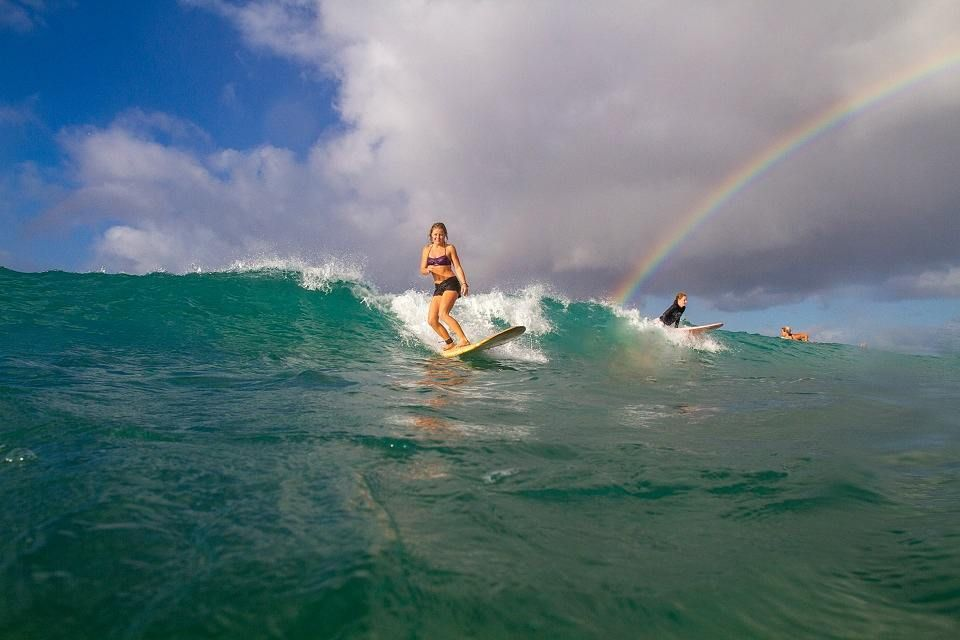 Surfing and a rainbow? Cowabunga! surfing northshore
