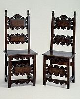 Baroque style chairs with carved cross rails, made in Lombardy, Italy, 17th century