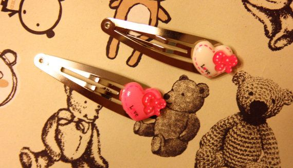 Hair clips valentines bow heart. by TearfulTenshi on Etsy