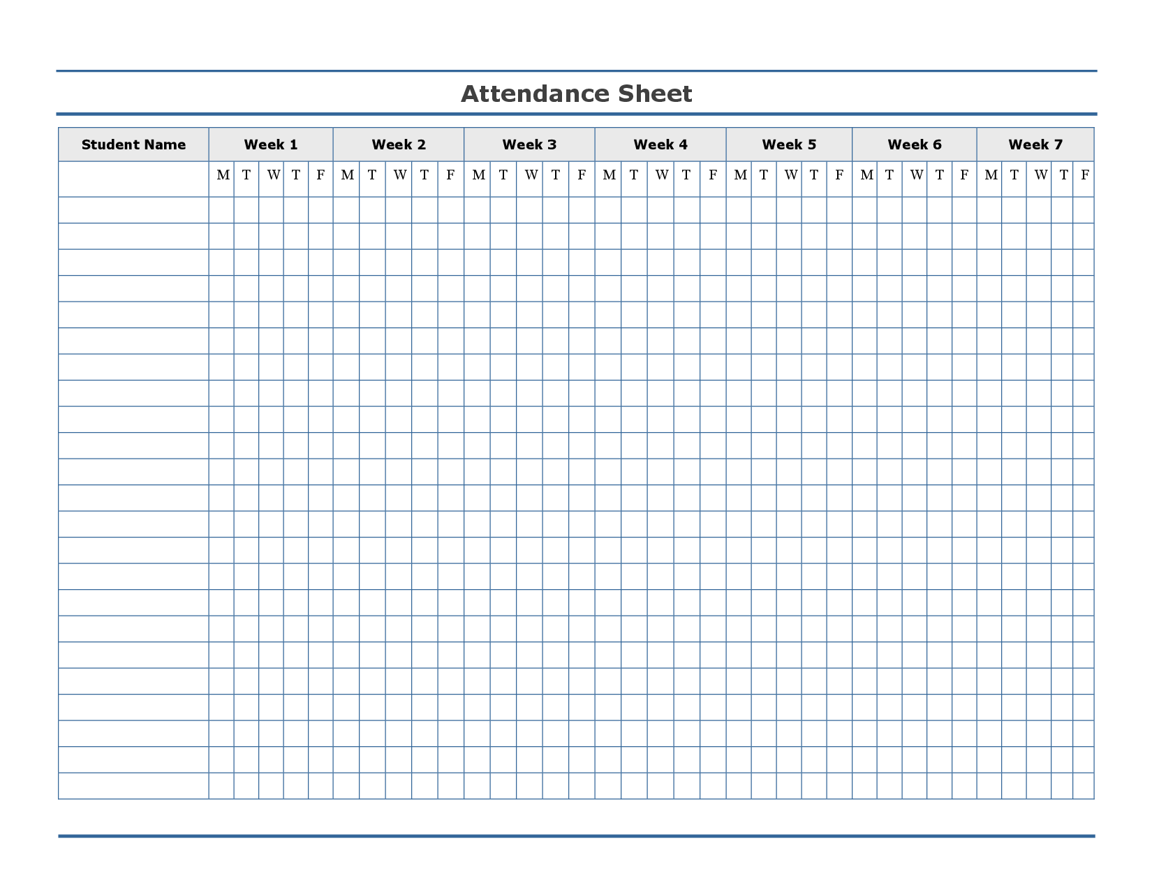 Amazing Free Printable Attendance Sheet Template U2026 Intended For Printable Attendance Sheet For Teachers