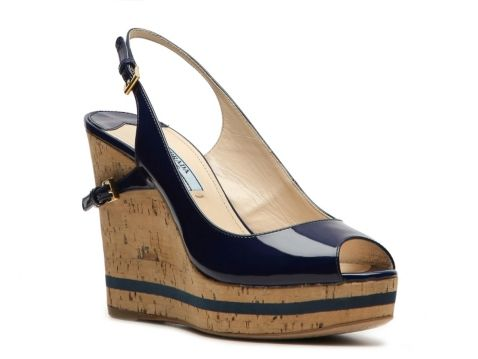 60b8a3e3154 Prada Wedge Sandal. Perfect. Simple. Navy. Leather Wedge Sandals