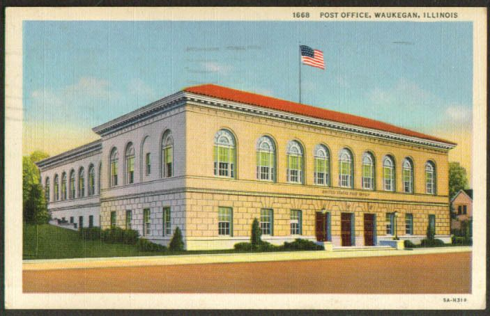 United States Post Office Waukegan Il Postcard 1944 Waukegan Post Office Postcard