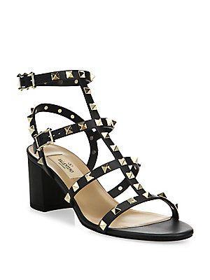2cf8107523 Valentino Rockstud Leather Block-Heel Sandals | CURRENT Looks I like ...