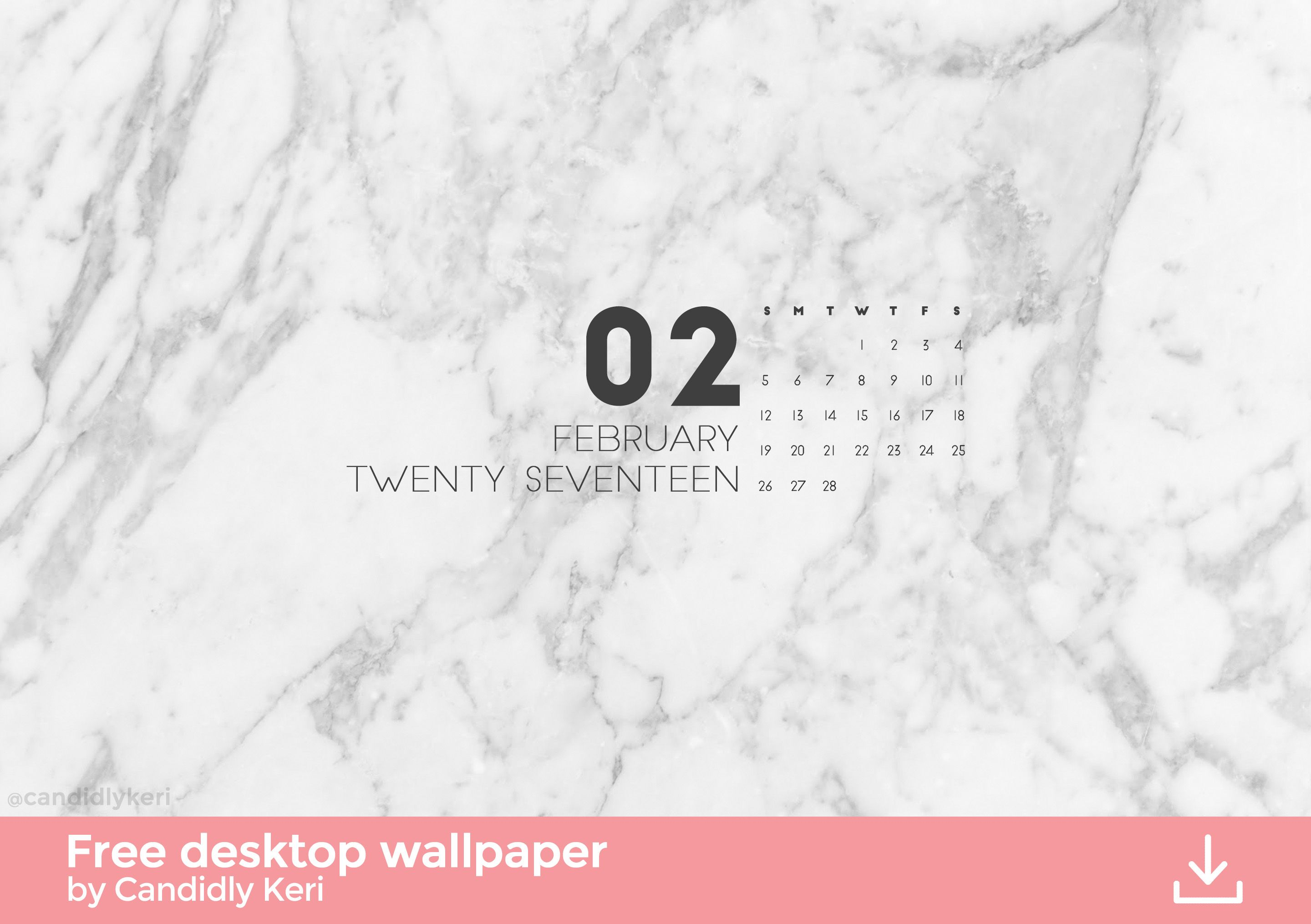 Wallpaper download of 2017 - Marble Organized Clean February Calendar 2017 Wallpaper You Can Download For Free On The Blog