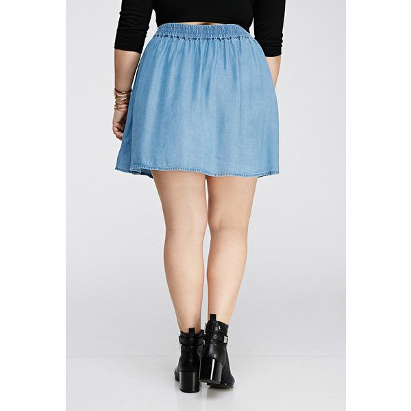 Forever 21 Plus Women's  Plus Size Chambray Skater Skirt ($20) ❤ liked on Polyvore featuring skirts, flared skater skirt, full length circle skirt, elastic waist skirt, forever 21 skirts and circle skater skirt