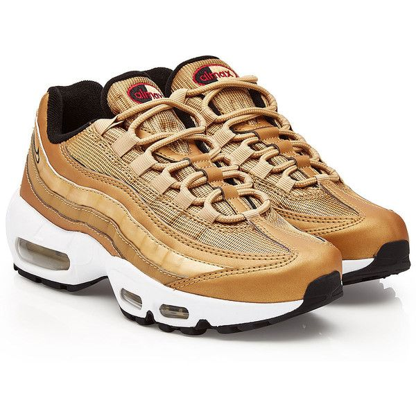 Nike Air Max 95 Metallic Gold Sneakers (€189) ❤ liked on Polyvore featuring shoes, sneakers, gold, white trainers, nike sneakers, white sneakers, metallic sneakers and white shoes