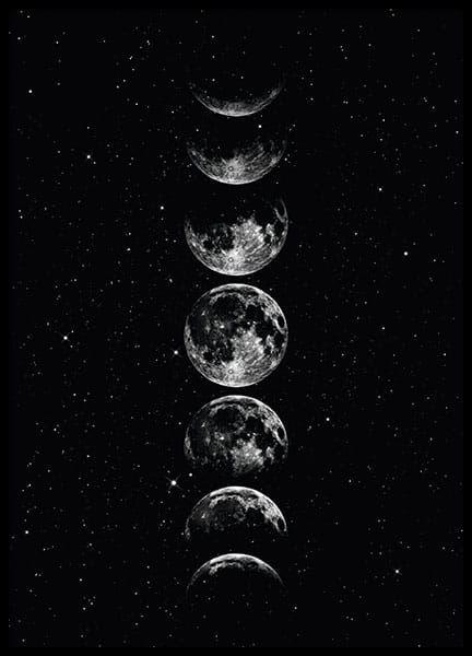 Moon Star Sky Poster