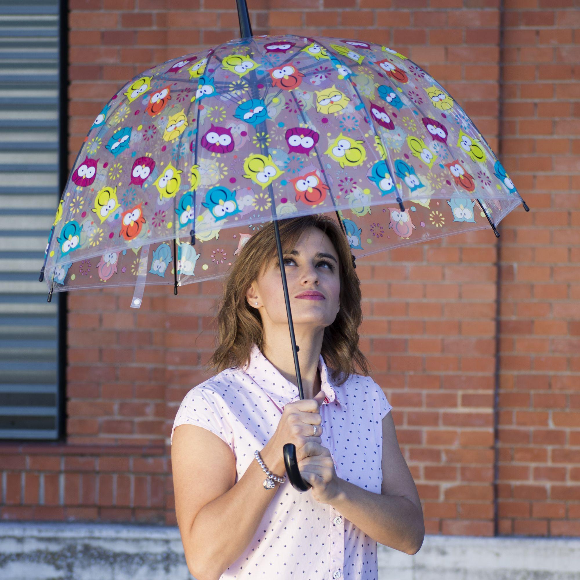 Búhos amorosos en un paraguas transparente