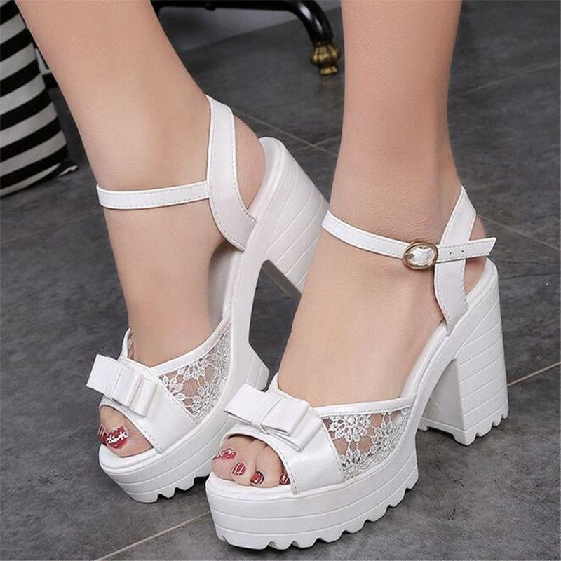 Women Sandals Summer Shoes woman Open Toe Sandals Thick Heel High-heeled Bowtie Women's Shoes X258