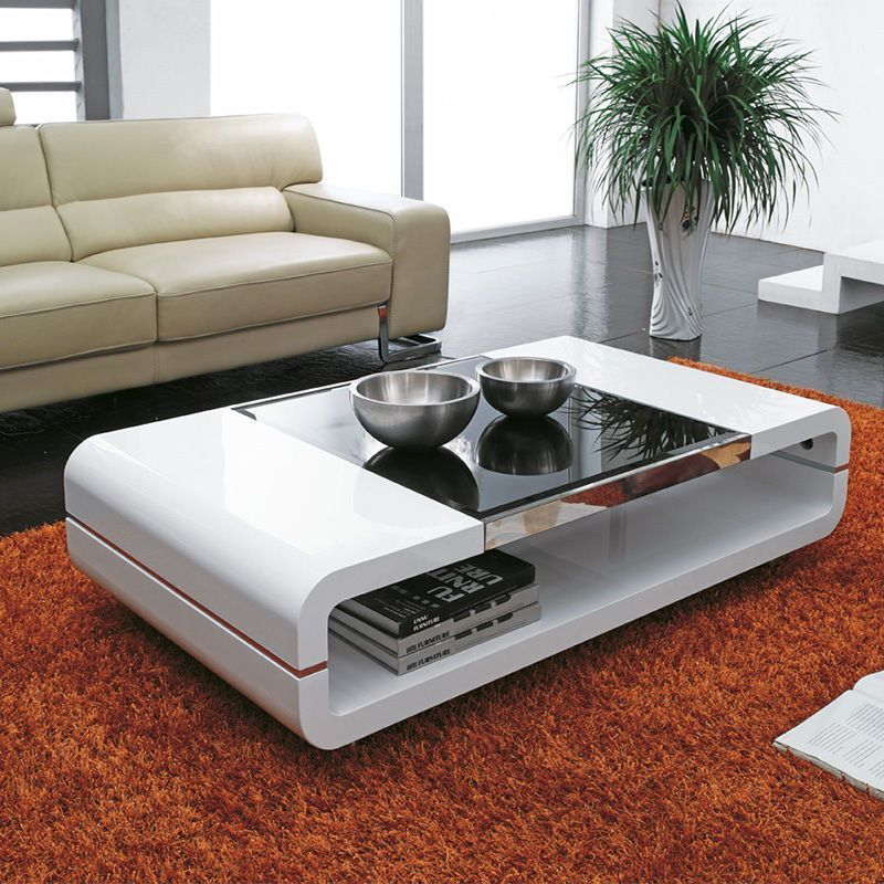 Design Modern High Gloss White Coffee Table With Black Glass Top