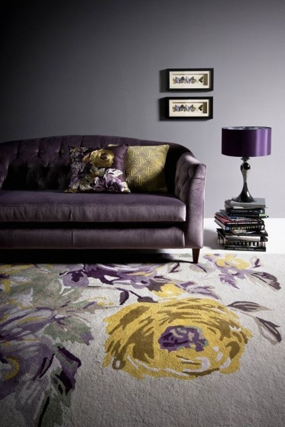 d coration int rieure salon living room couleur color violet prune am thyste aubergine. Black Bedroom Furniture Sets. Home Design Ideas
