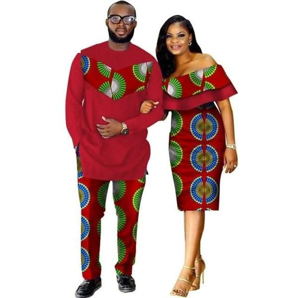 African Style Clothing Family Couple Man Shirt-Pnts Woman Dress Dashiki V11673 #africanstyleclothing