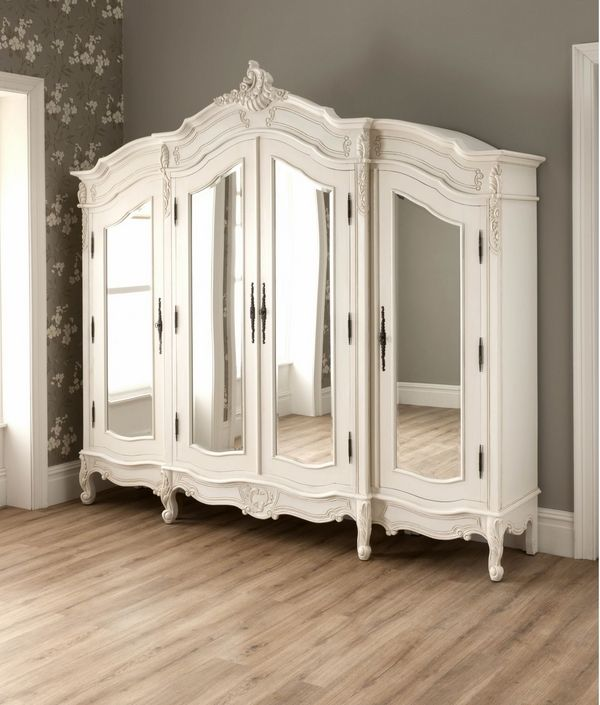 White Wood Wardrobe Armoire Shabby Chic Bedroom. Brilliant Bedroom Antique  French Style Wardrobe Armoire Stylish