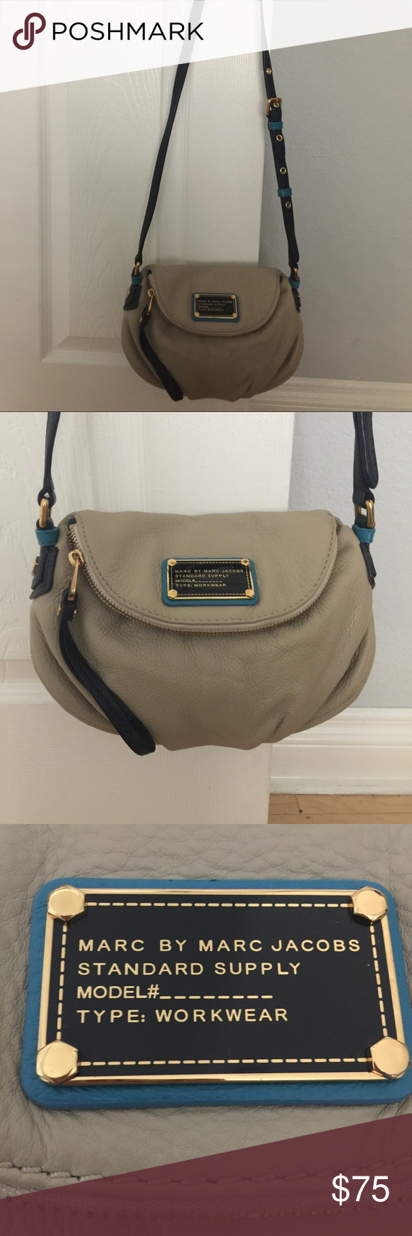 Marc by Marc Jacobs Crossbody Bag Mini Natasha Two tone Khacki/Blue color, soft pebble leather, magnetic closure, fabric lining, one interior zip and two slip pockets.  Barely used. Marc by Marc Jacobs Bags Crossbody Bags