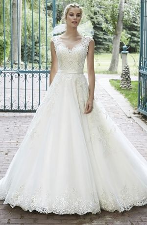 Illusion A-Line Wedding Dress with Natural Waist in Beaded Embroidery. Bridal Gown Style Number:33054685