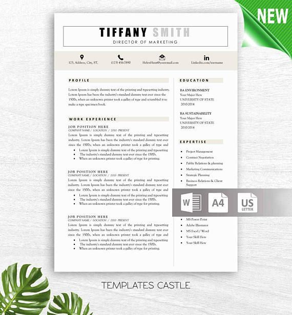Professional Creative Resume Design Template 2 Pages Instant - resume template for pages