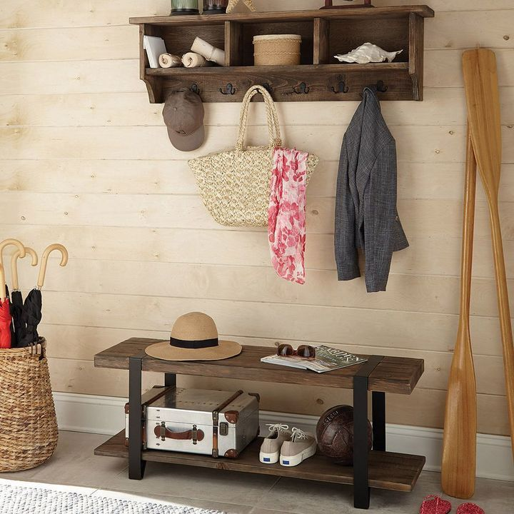 Entry way organize rustic farmhouse bench coat rack
