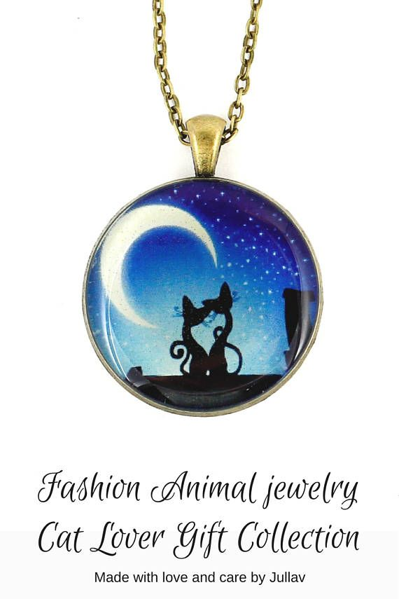 $2199 Blue chain pendant Fashion necklace jewelry Cat lover
