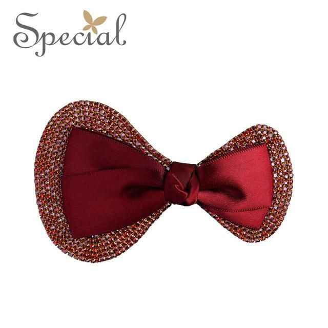 Special Fashion Luxury Red Hair Clips Rose Gold Rhinestones Hair Accessories Bowknot Barrettes Jewelry Gifts for Women S1684H