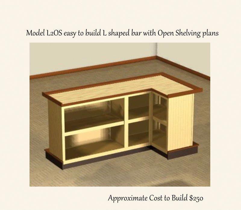 easy plans to build a 4 x 8 foot l shaped home bar open shelving rh pinterest com mx