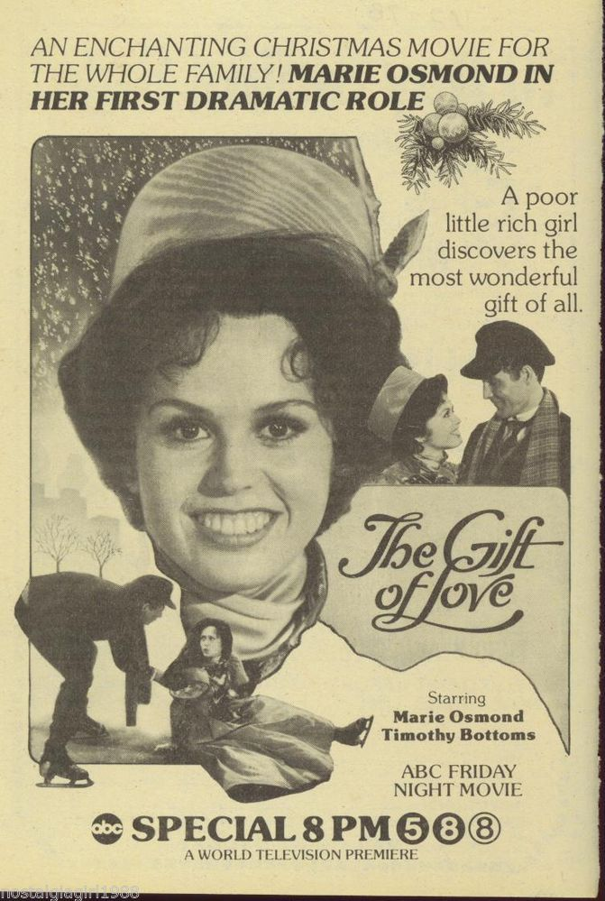 1978 AD MARIE OSMOND THE GIFT OF LOVE CHRISTMAS MOVIE ABC