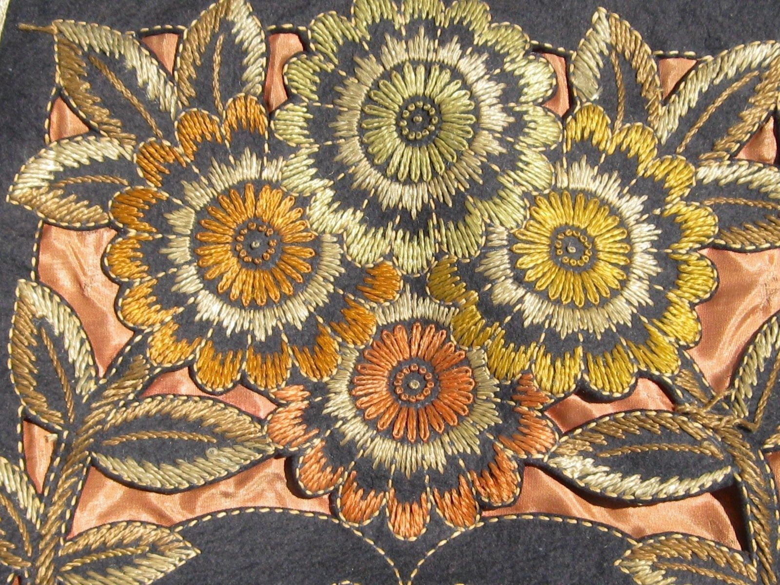 Art nouveau arts and crafts floral embroidered needlepoint felt