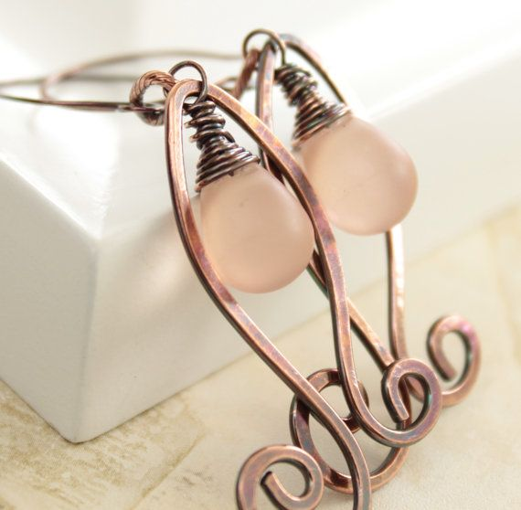 Artsy Paisley soft pink copper earrings with frosted drop Czech glass dangles from Etsy