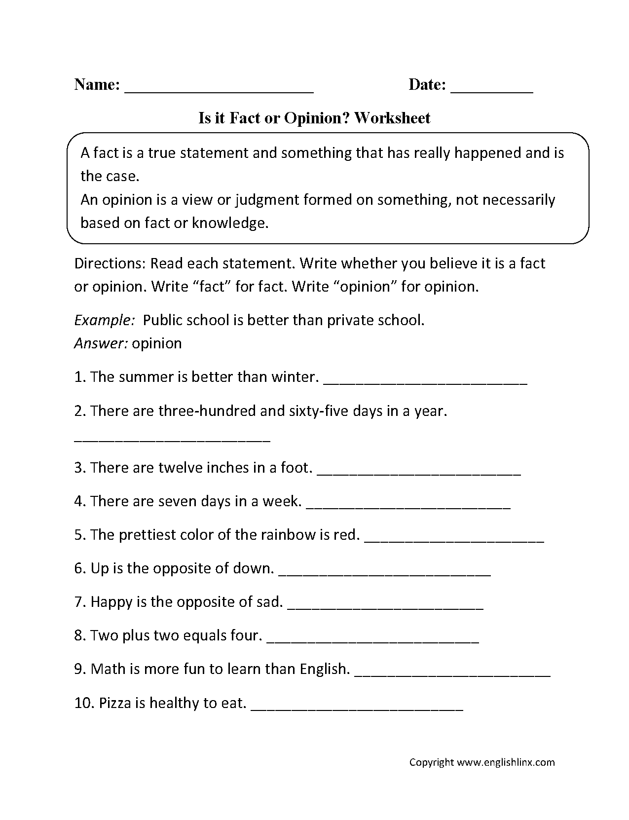 Is It Fact Or Opinion Worksheet
