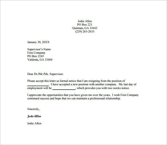 Pin by Template on Template Resignation letter format, Business