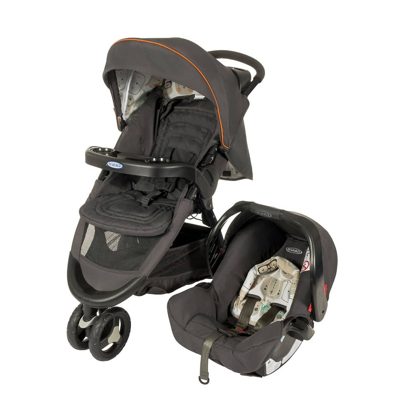 Graco Grey Sport J B Bowtiebear Stroller/Carseat Travel