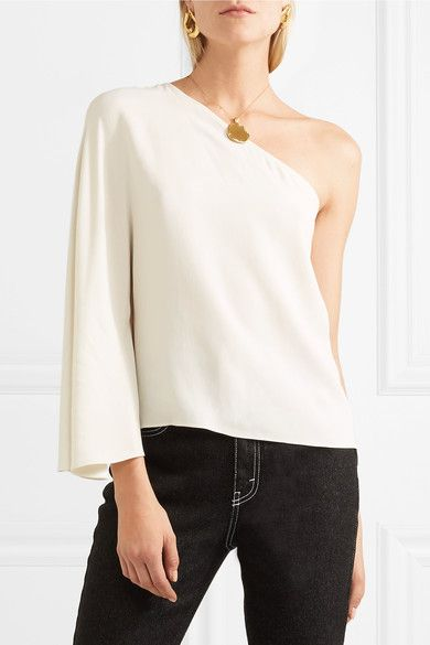 Theory Ruza Kensington One-shoulder Crepe De Chine Top - Ivory ... 3b985e01626