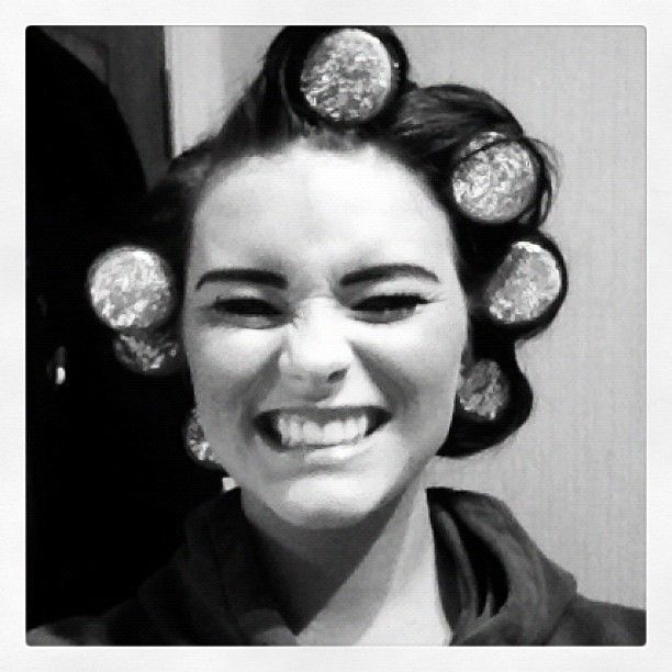 Our beauty therapist trying out the sleep rollers!!! They gave her massive volume