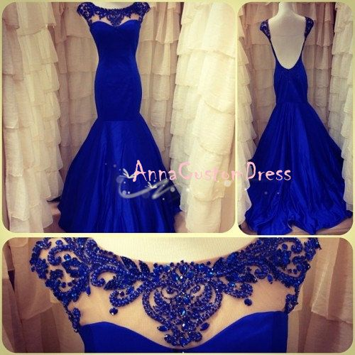 Long Bead Real Blue Mermaid Backless Prom Dress by AnnaCustomDress, $169.00